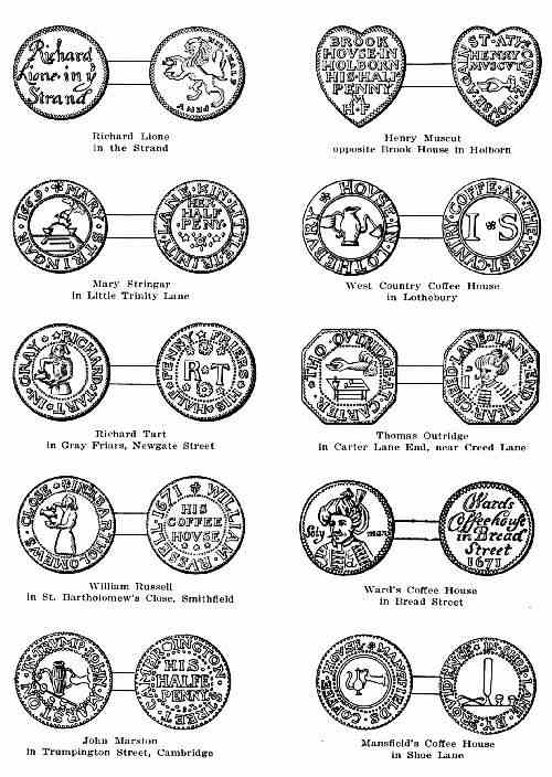 PLATE 2 COFFEE HOUSE KEEPERS TOKENS OF THE 17TH CENTURY