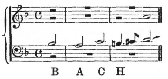 B A C H in German musical notation