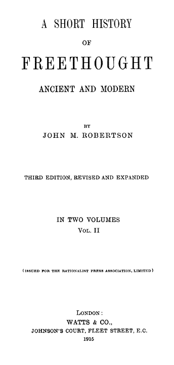 A short history of freethought ancient and modern volume 2 of 2 original title page fandeluxe Images