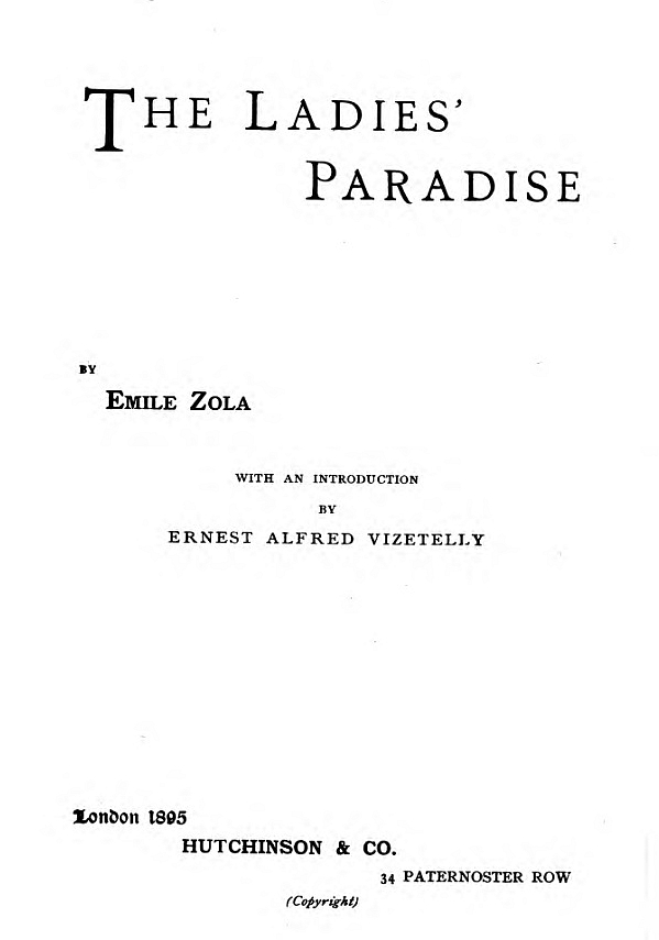The Project Gutenberg eBook of The Ladies' Paradise, by