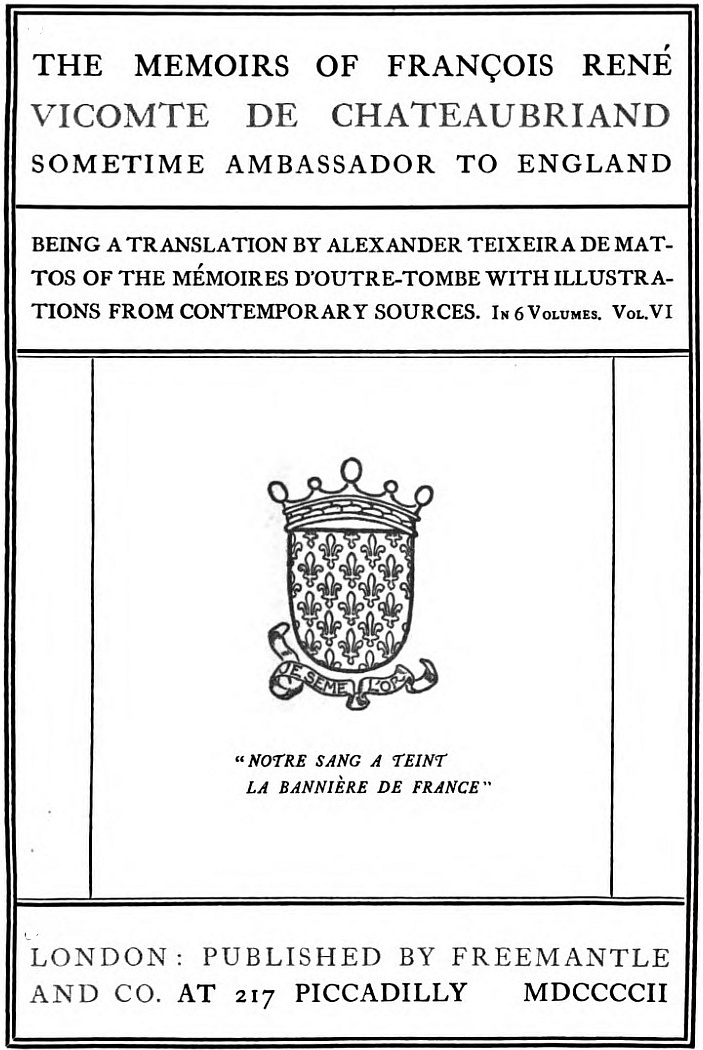 The Project Gutenberg eBook of The Memoirs of François René ...