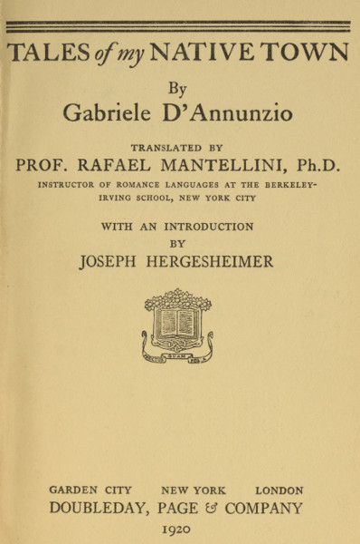 Tales of My Native Town, by Gabriele D'Annunzio